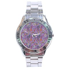 Purple Paisley Stainless Steel Watch