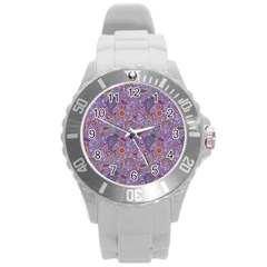 Purple Paisley Plastic Sport Watch (Large)