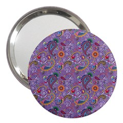 Purple Paisley 3  Handbag Mirror