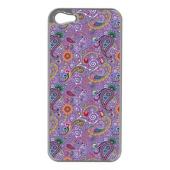 Purple Paisley Apple iPhone 5 Case (Silver)