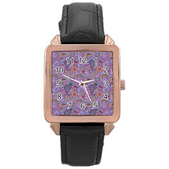 Purple Paisley Rose Gold Leather Watch