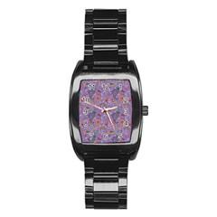 Purple Paisley Stainless Steel Barrel Watch