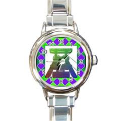 Mine Round Italian Charm Watch