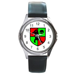 Angry Ogre Games Logo Round Leather Watch (Silver Rim)