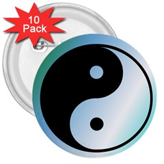 Ying Yang  3  Button (10 Pack)