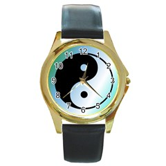 Ying Yang  Round Leather Watch (gold Rim)