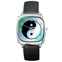 Ying Yang  Square Leather Watch