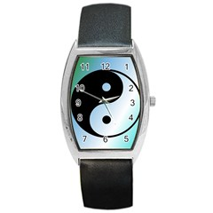 Ying Yang  Tonneau Leather Watch