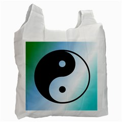 Ying Yang  White Reusable Bag (one Side)