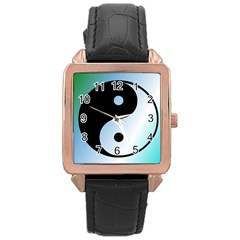 Ying Yang  Rose Gold Leather Watch