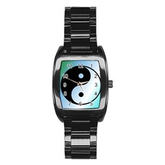 Ying Yang  Stainless Steel Barrel Watch