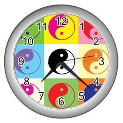 Ying Yang   Wall Clock (Silver)