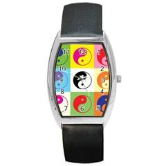 Ying Yang   Tonneau Leather Watch