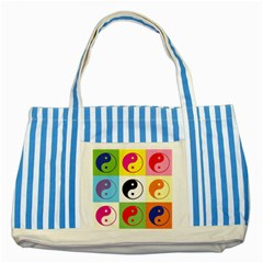 Ying Yang   Blue Striped Tote Bag