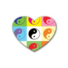 Ying Yang   Drink Coasters 4 Pack (Heart)