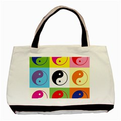Ying Yang   Twin-sided Black Tote Bag