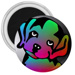 Dog 3  Button Magnet