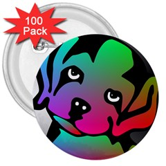 Dog 3  Button (100 pack)