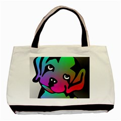 Dog Twin-sided Black Tote Bag