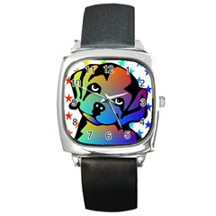 Dog Square Leather Watch