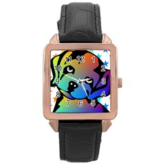 Dog Rose Gold Leather Watch