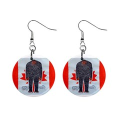 Big Foot H, Canada Flag Mini Button Earrings