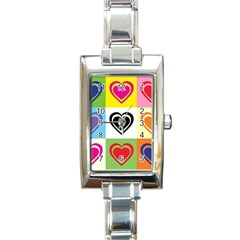 Hearts Rectangular Italian Charm Watch