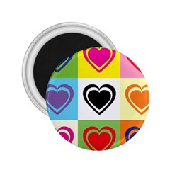 Hearts 2.25  Button Magnet