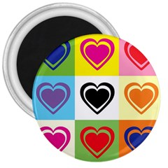 Hearts 3  Button Magnet