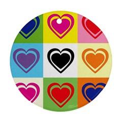 Hearts Round Ornament