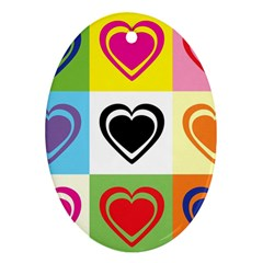 Hearts Oval Ornament