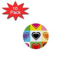 Hearts 1  Mini Button (10 pack)