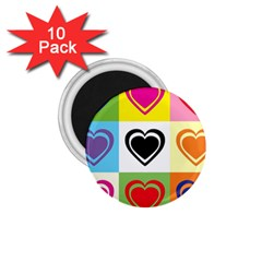 Hearts 1.75  Button Magnet (10 pack)
