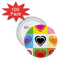 Hearts 1 75  Button (100 Pack)