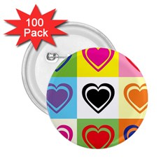 Hearts 2.25  Button (100 pack)