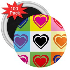 Hearts 3  Button Magnet (100 pack)