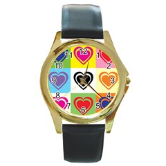 Hearts Round Leather Watch (Gold Rim)