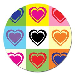 Hearts Magnet 5  (Round)