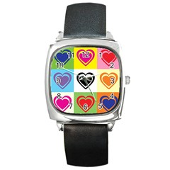 Hearts Square Leather Watch
