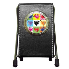 Hearts Stationery Holder Clock