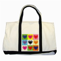Hearts Two Toned Tote Bag