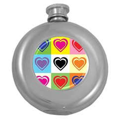 Hearts Hip Flask (round)