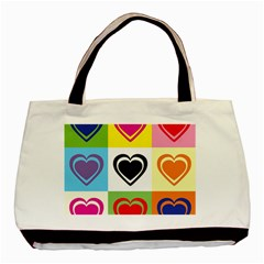 Hearts Twin Sided Black Tote Bag