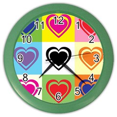 Hearts Wall Clock (color)