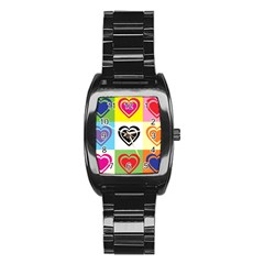 Hearts Stainless Steel Barrel Watch