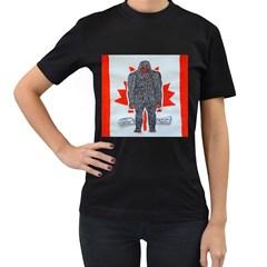 Big Foot A, Canada Flag Women s T Shirt (black)