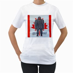 Big Foot A, Canada Flag Women s T-Shirt (White)