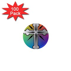 Cross 1  Mini Button Magnet (100 pack)