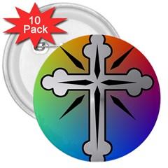 Cross 3  Button (10 pack)