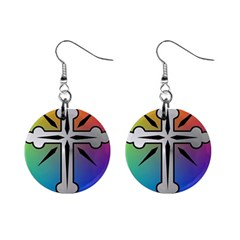 Cross Mini Button Earrings